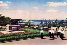 Одесса. Пушка на площади Коммуны. Фото А. Подберезского. Почтовая карточка. 1959 г.