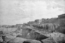 Одесса, Приморский бульвар, литография, 1830-е годы