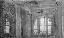 В одном из залов нового Одесского железнодорожного вокзала. Газета «Черноморский гудок», 1952 г.