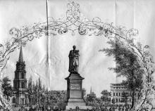 Памятник князю М.С.Воронцову в Одессе на Соборной площади. Литография П. Францова. Госархив Одесской обл. 1863 г.
