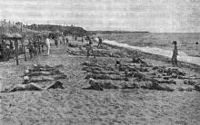 Одесса. Люстдорф. Дети на пляже. Фотография из сборника «Одесса-курорт» Одесского курортного управления, 1934 г.