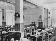 Одесса. Лермонтовский санаторий. Обеденный зал новой столовой. Фотография из буклета «Лермонтовка», 1971 г.