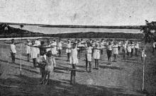 Кляйн-Либенталь. Сухой Лиман. Утренняя зарядка. Фото в брошюре «Одесса. Приморские курорты». 1933 г.