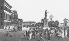 Бульвар. Художник Юлий Берндт (из альбома «Одесса в произведениях графики XIX века»). 1880-е годы