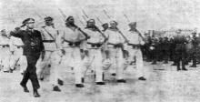 Одесса. Празднование Дня независимости Румынии 10 мая 1942 года. «Румынские моряки на параде». Фото из «Одесской газеты»
