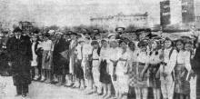 Одесса. Празднование Дня независимости Румынии 10 мая 1942 года. «Дети в национальных костюмах на параде». Фото из «Одесской газеты»