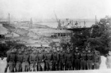 Одесса. Вид с Потемкинской лестницы на строительство морского вокзала. 1965 г.