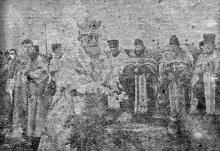 Одесса. Водосвятие на Куликовом поле проводит митрополит Виссарион. 6 января 1943 г. Фото из «Одесской газеты»
