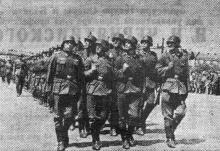 Одесса. Празднование Дня независимости Румынии. Германская пехота на параде. 10 мая 1943 г. Фото из «Одесской газеты»