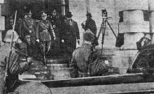 Одесса. Руководитель Румынии, маршал Ион Антонеску на железнодорожном вокзале 2 апреля 1942 года. «Одесская газета», 5 апреля 1942 г.