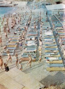 Одесса. Лечебный пляж санатория «Россия». Фотография из справочника «Курорты Одессы», 1976 г.