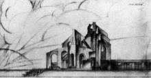 Проект памятника-мавзолея В.И. Ленина в Одессе. Девиз автора «Три арки». 1935 г.