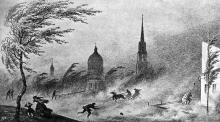 Преображенская улица во время пыльной бури. Рисунок Ф. Гросса. Одесса. 1850-е годы