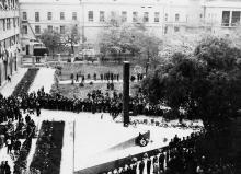 Открытие памятника работникам и воспитанникам ОИИМФа, погибшим на фронтах Великой Отечественной войны 1941-1945 годов. Одесса. 1 ноября 1967 г.