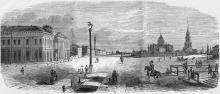 Одесса. Преображенская площадь. Рисунок в газете 1858 г.