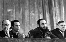 Фидель Кастро Рус на митинге советско-кубинской дружбы в Одесском театре оперы и балета. г. Одесса, февраль 1981 г. (7286)