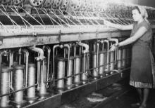 Вовничная машина «Р-216-П» на Одесской джутовой фабрике. 31.VII.57 г. Одесса, Н. Крылов (453)