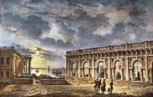 Вид Колоннады близ новой Биржи, Одесса, гравюра, 1837 г.