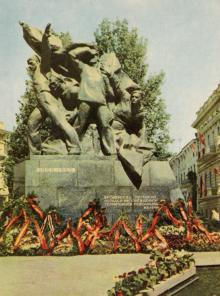 Одесса. Памятник Потемкинцам. Фотограф А. Подберезский. Открытка из набора