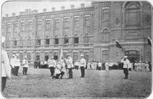 Вручение знамени директору Одесского Кадетского корпуса генерал-майору М.Е. Дерюгину. Фото М. Пиковского. 11 мая 1906 г.