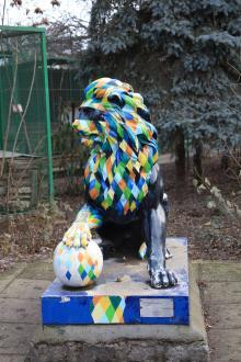 Скульптура льва, подаренная Одесскому зоопарку мэром г. Львова в 2011 году. Фото Игоря Ландера. 16 января 2016 г.