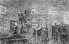 В одном из залов музея обороны Одессы в Великой Отечественной войне. Фото в справочнике «Курорты Одессы», 1955 г.