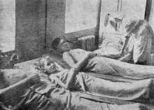 Отпуск грязевых аппликаций на детском курорте «Холодная балка». Фото в брошюре «Грязелечение на Одесских курортах», 1957 г.