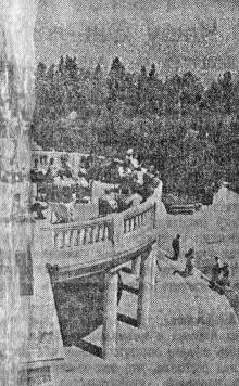 На веранде одного из корпусов санатория ВЦСПС № 5. Фото А. Фатеева в газете «Большевистское знамя». 29 июля 1951 г.