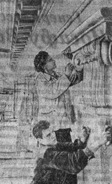 На строительстве Одесского вокзала. Лепщики-модельщики И.К. Петухов (на переднем плане) и С.Н. Сухоруков за отделкой капителей колонн. Фото И. Кригеля в газете «Большевистское знамя». 20 октября 1951 г.