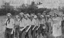 Украинский Артек. Дети на прогулке. Фото А. Колосова в газете «Большевистское знамя». 31 мая 1952 г.