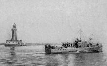 Катер-охотник выходит в море, фото из газеты, август 1941 г.