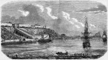Вид Одессы с моря. Рисунок в газете. 1854 г.