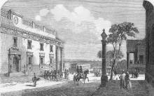 Одесса. Театр. Ланжероновская угол Ришельевской. Виден угол дома Волконского. Рисунок в рекламе 1854 г.