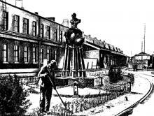 Устройство цветников вокруг памятника тов. Ленину на заводе им. Марти в Одессе