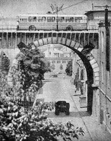 Спуск Вакуленчука, вид на Строгановский мост. Фото в книге «Улицы рассказывают», 1967 г.