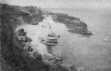 Вал выпирания в море, образовавшийся в результате оползня 14 августа 1936 г. на 11-ой ст. Б. Фонтана. Фото в «Генеральной схеме противооползневых мероприятий побережья гор. Одессы». 1940 г.