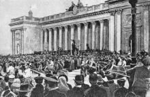Митинг на площади возле городской думы, октябрь, 1905 г.