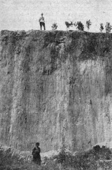 Плоскость срыва в плато, обнажен лесс (оползень 14 августа 1936 г., 11-я ст. Б. Фонтана). Фото в «Генеральной схеме противооползневых мероприятий побережья гор. Одессы». 1940 г.
