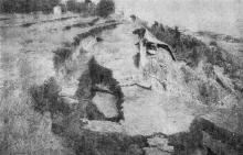 11-я станция Б. Фонтана. Оползень 14 августа 1936 г. Вид верхней террасы. Фото в «Генеральной схеме противооползневых мероприятий побережья гор. Одессы». 1940 г.