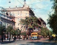 Улица Дерибасовская. Фото в иллюстрированном буклете «Одесса», 1957 г.