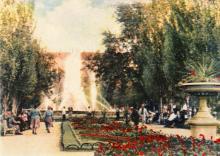 Сквер по ул. Советской Армии. Фото в иллюстрированном буклете «Одесса», 1957 г.