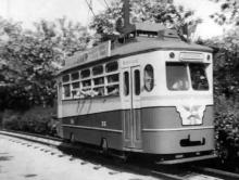 Открытие линии детского трамвая, кадр кинохроники, 1956 г.