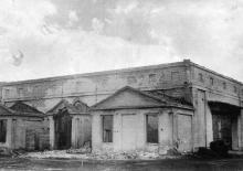 Съемочный павильон № 5, разрушенный оккупантами. Конец 1940-х гг.