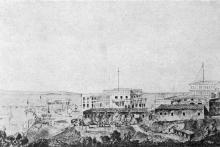 «Воронцовский дворец со стороны Военного спуска», рисунок Моисея Синявера, 1927 г.