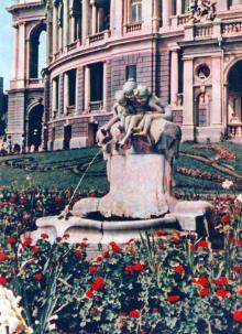 Фонтан «Дети и лягушка». Фотография в фотоальбоме «Одесса», 1965 г.