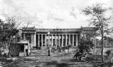 Первое здание Биржи, за двумя рядами колонн просматривается открытый дворик