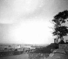Вид на порт и колоннаду Воронцовского дворца с начала ул. Гоголя. Одесса. 1900-е гг.