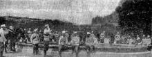 Лагерь казаков на Соборной площади, со стороны Преображенской улицы, фото из газеты, 1905 г.