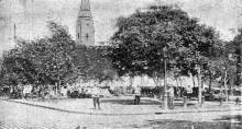 Лагерь войск, охраняющих город, на Соборной площади, фото из газеты, 1905 г.