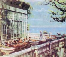 Веранда детского санатория им. Крупской. Фото в буклете «Одесса. Черноморка», 1963 г.